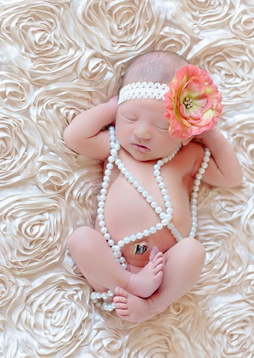 Newborn baby girl session big flower headband variety of colors cream ruffled
