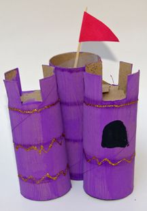 Castle! Paint 3 toilet paper rolls. Cut squares from top of 2 and connect all 3. Decorate with ribbon/glitter. Flag made from triangle paper and toothpick.