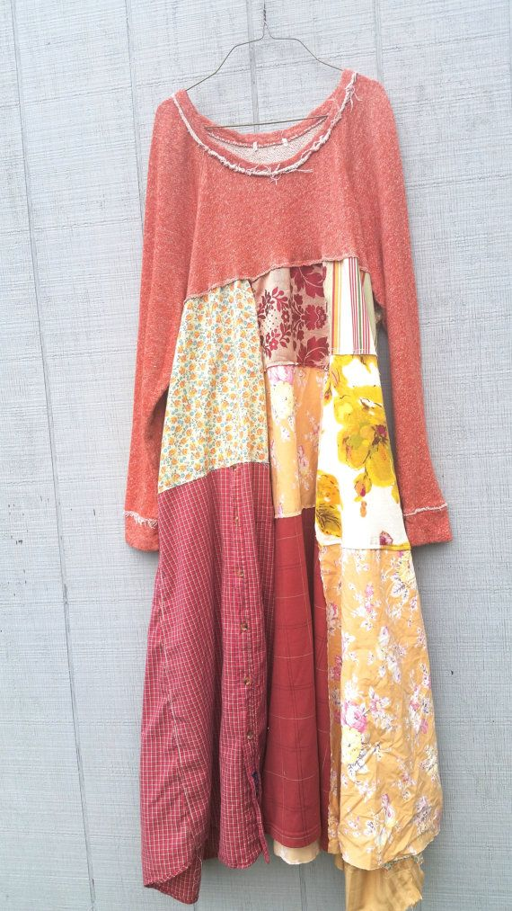 upcycled floral cotton knit tunic Dress romantic by CreoleSha