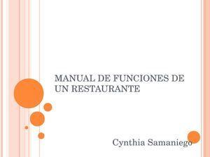 Manual de Funciones de un Restaurante