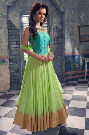 Mesmerizing Light Green  Net  Designer  Hand Work Semi Stitched Anarkali Suit