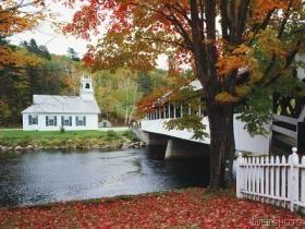 New HampshireSeasons Colors, Autumn Scene, Automne Autumn, Autumn Glories, Colors Trees, Covers Bridges, New Hampshire, Color