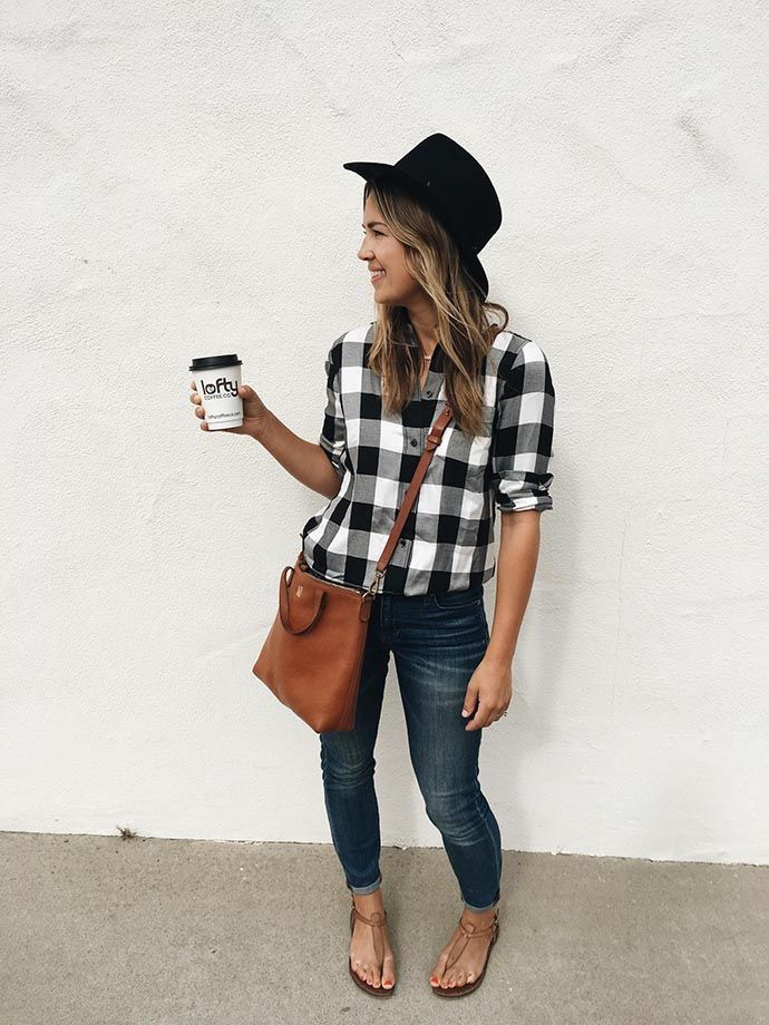 Women's fall style. Gingham checkered shirt, jeans, brown leather bag, floppy hat. Great for weekend runs for coffee. Women 20s outfit, women 30s outfit, neutral closet. #afflink #womenstyle #brownleatherhandbag