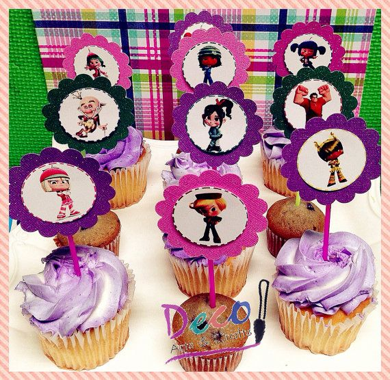 Vanellope Sugar Rush, Wreck It Ralph Glitter Cupcake Toppers, Ralph el Demoledor - 12 Ready to Ship on Etsy, $10.99
