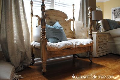 antique bench made from twin bed