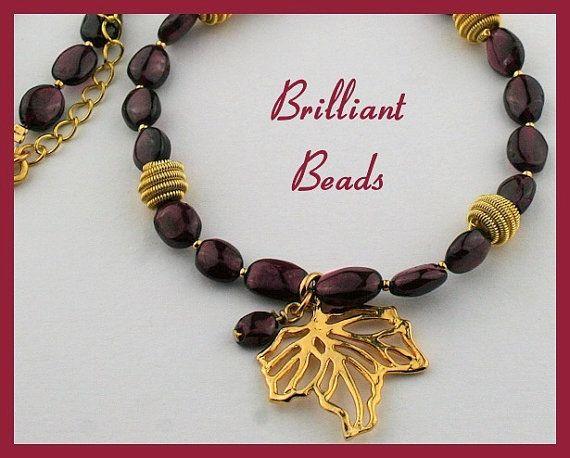$34.00 ship included.....Genuine Garnet Gemstone & Gold Vermeil Maple Leaf Necklace
