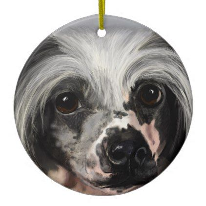 Chinese Crested Ceramic Ornament - home gifts ideas decor special unique custom individual customized individualized