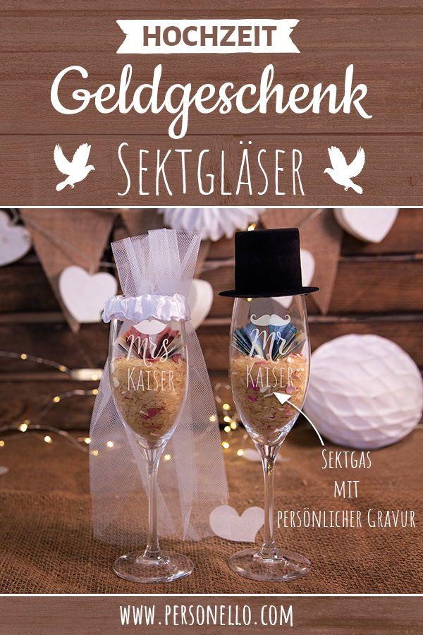 """DIY Geldgeschenk """"Sektgläser Mrs. & Mr."""" mit filigraner Gravur und Wunschnamen …"""