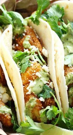 Crispy Fish Tacos with Jalapeño Sauce