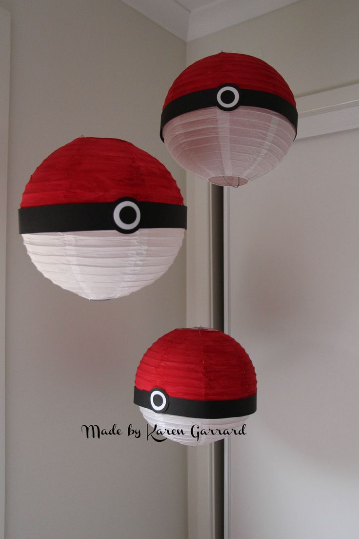 We made these Pokemon balls to hang above the food table. I purchased the white lanterns from Coles or Woolworths painted the top half red and just added black and white cardstock to middle. After the party they can hang in the childs bedroom with clear thumb tacks and thread.