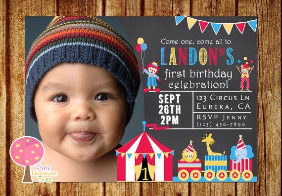 Circus Birthday Party Invitation, Chalkboard Invitation, 1st birthday Invite, Carnival Party, Circus Animals, Circus Tent, Party Invite