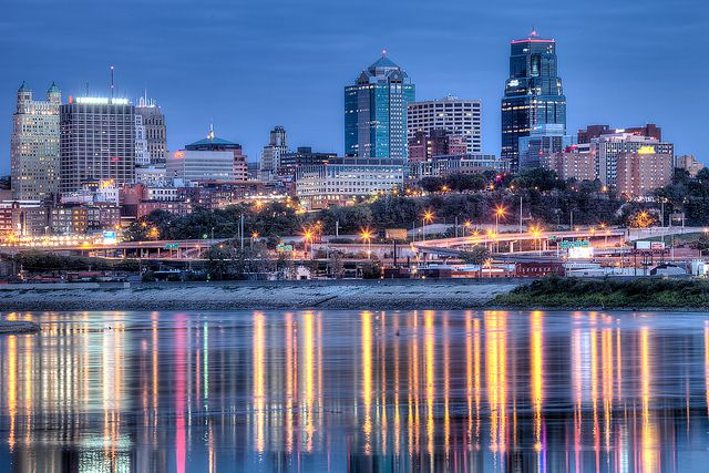 View of Kansas City Missouri skyline from Kaw Point Park in Kansas City, Kansas, MO, USA.