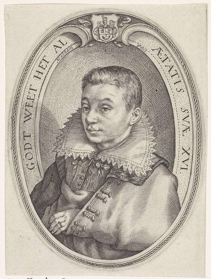 Jacob Matham | Portret van Cornelis Abrahamsz. van Hoorn, Jacob Matham, 1611 - 1615 | Portret van Cornelis Abrahamsz. van Hoorn op 16-jarige leeftijd.