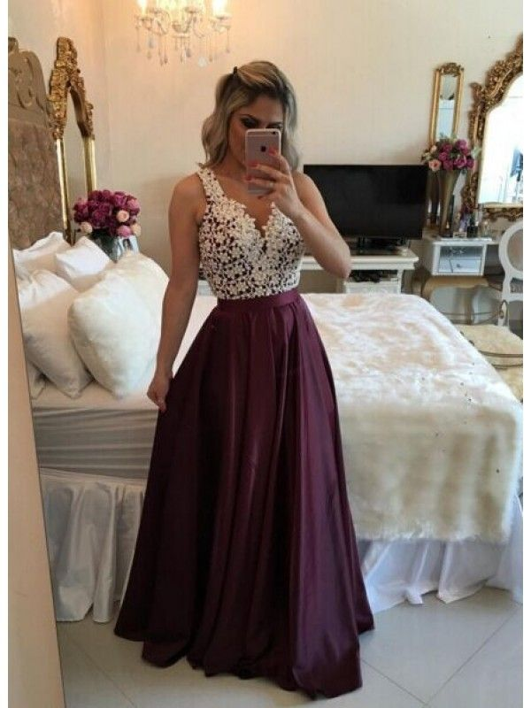 A LINE V NECK BUTTON BACK LONG PROM DRESS