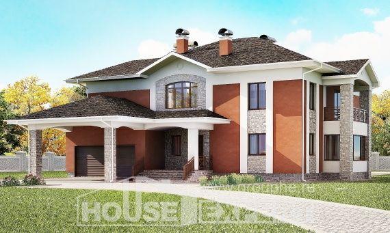 400-002-Л Проект двухэтажного дома, гараж, уютный коттедж из кирпича
