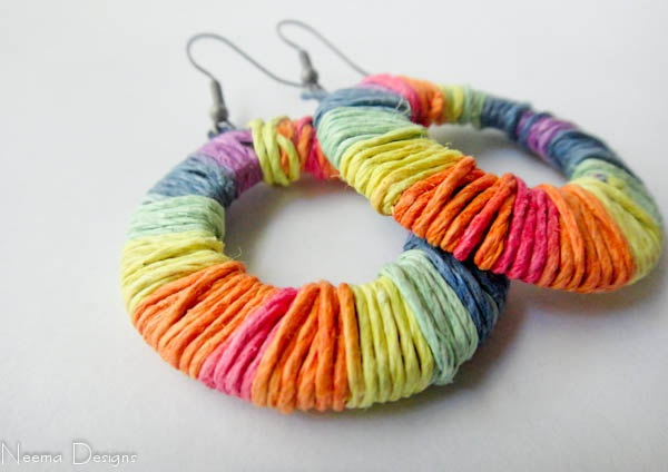 Rainbow colored hemp wrapped earrings Urban by NeemaDesigns413. $12.50, via Etsy.: 12 50, Earrings Urban, Urban Hemp, Hemp Wrapped, Colored Hemp, Crafts