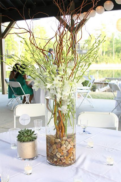 Centerpieces yellow dendrobium orchids with accents of