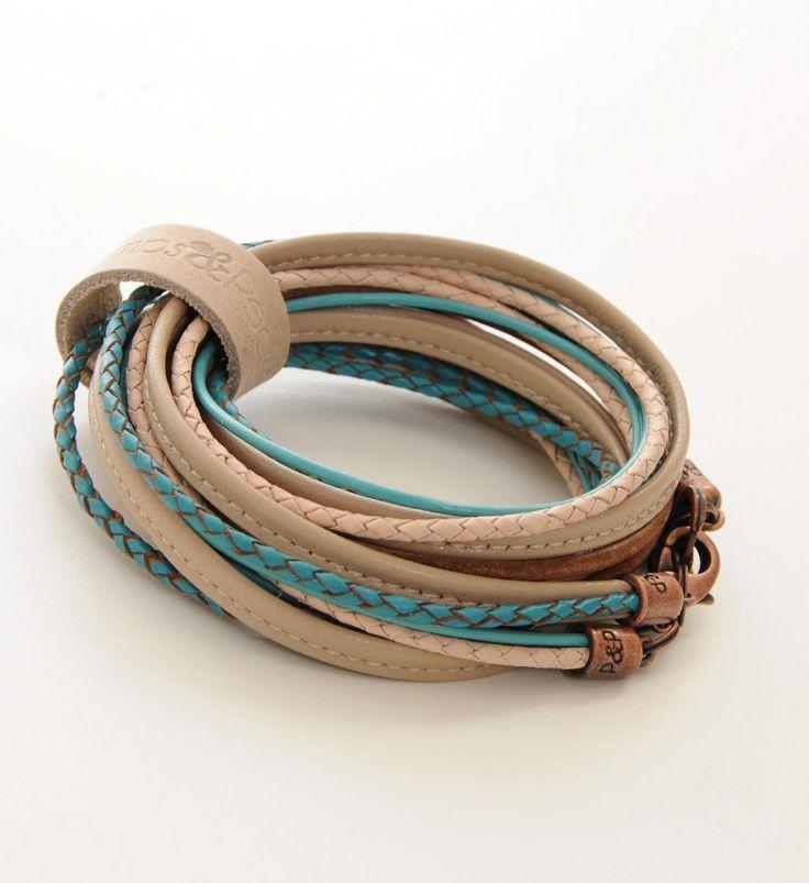 Pimps & Pearls handgemaakte leren armband model Moesss Summerti - koper - NummerZestien.eu
