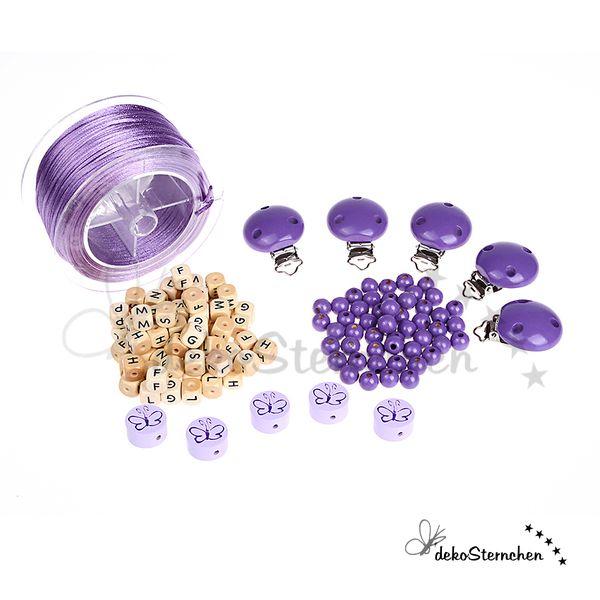 Starterset Schnullerketten lila