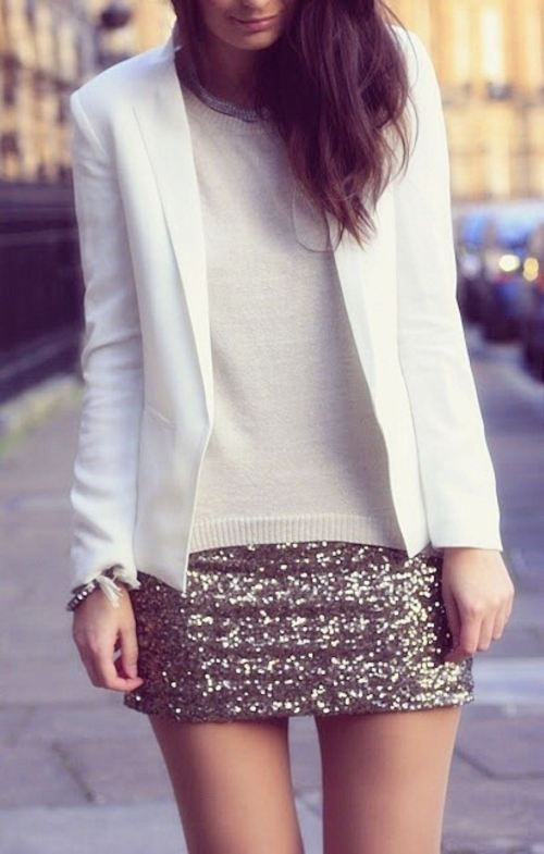 sequin skirt, white blazer. mhm.
