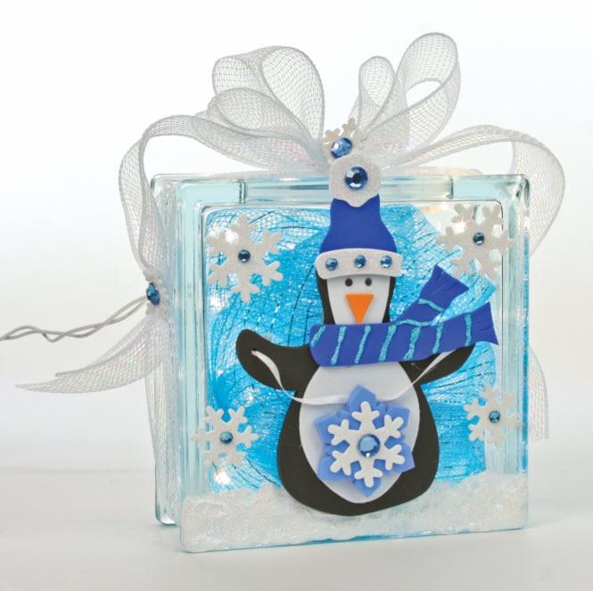 Snow Block with Penguin #glassblock #craft #christmas