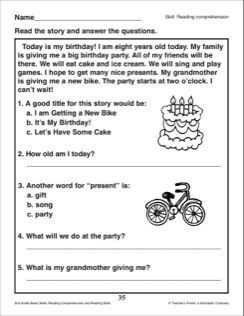 Image result for reading comprehension passages for 2nd grade ...