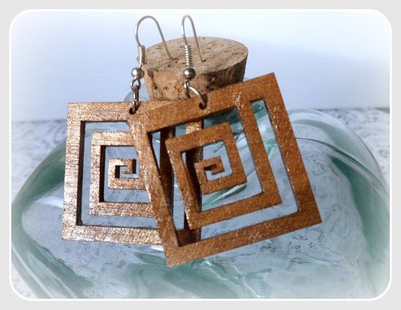 Square spiral wooden earringswith silver by CarmenHandCrafts, €5.00