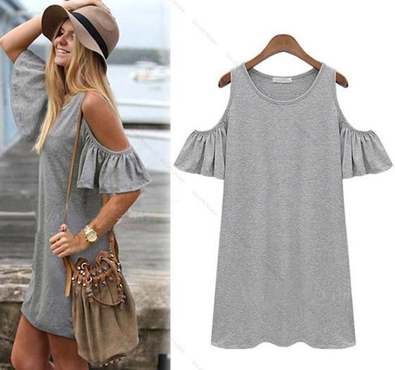 Grey Plain Butterfly Sleeve Off Shoulder Round Neck Casual Cotton Blend Shift Dress - Going Out - Dresses