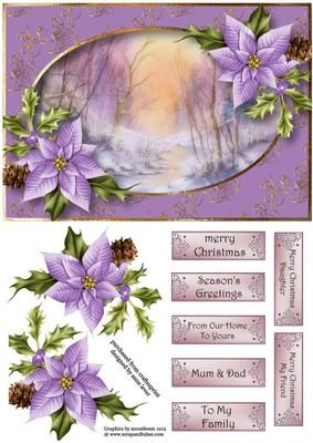 Watercolour Stream In Winter Poinsettias on Craftsuprint designed by Anne Lever - This lovely topper features a fabulous watercolour of a stream in the winter. It is embellished with gorgeous purple poinsettias. It has decoupage and seven greetings. - Now available for download!