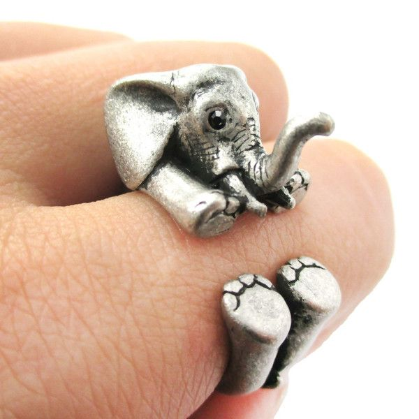 3D Baby Elephant Animal Wrap Around Ring in Silver   US Sizes 5 to 8.5