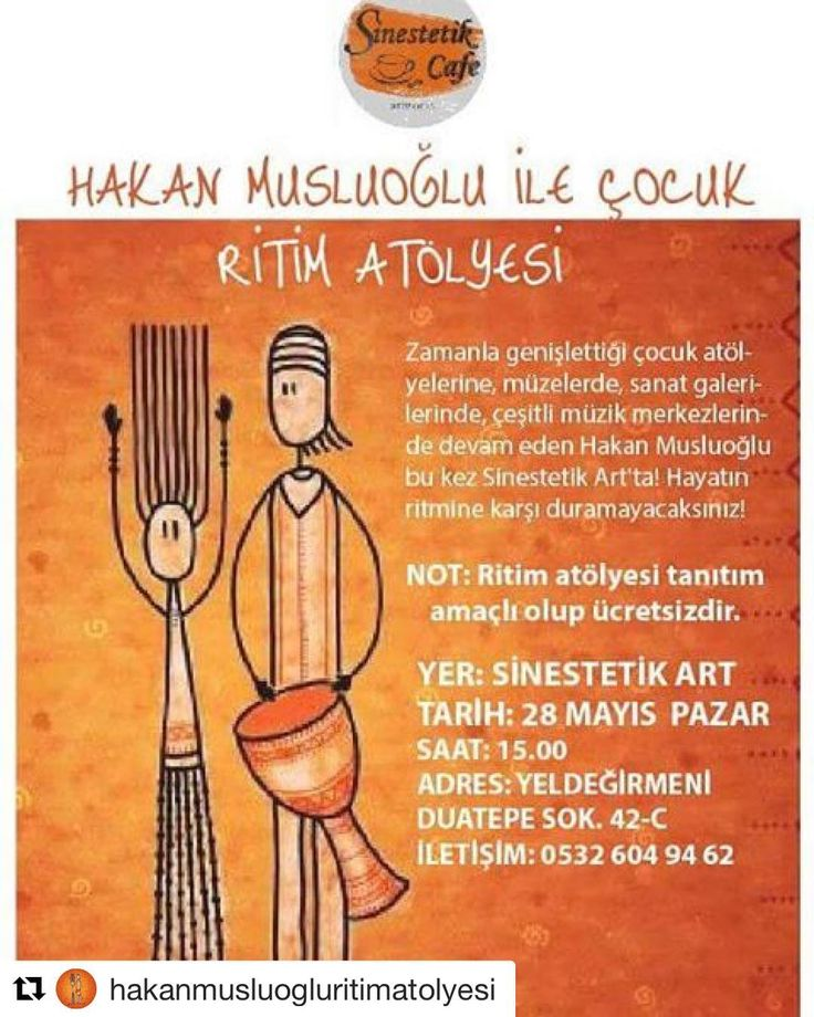 #Repost @hakanmusluogluritimatolyesi (@get_repost) ・・・ 28 Mayıs Pazar günü Kadıköy'de @sinestetik_artcafe' deyiz çocukları ve ailelerini eğlenmeye davet ediyoruz.  İletişim:0532 344 84 06 hakan.musluoglu@yahoo.com -------- #ritim #ritimeğitimi #ritimatölyesi #atölye #workshop #ritimworkshop #perküsyon #perküsyonatölyesi #perküsyonworkshop #druming #drum #takımçalışması #hobi #instagood #insta #instagram #çocuk #sanat #cafe #etkinlik #çocuketkinlik #çocukatölyesi #kadıköy #yeldeğirmeni…