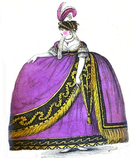 Lady+in+court+dress+from+A+book+explaining+the+ranks+and+dignitaries+1809v1.jpg 534×644 pixels