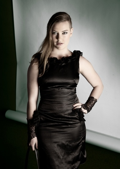 Black satin evening dress