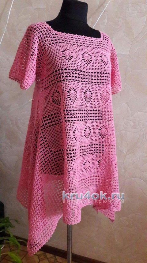 túnica de color rosa crochet.  Elena trabajar Saenko tejido de punto y ganchillo esquema