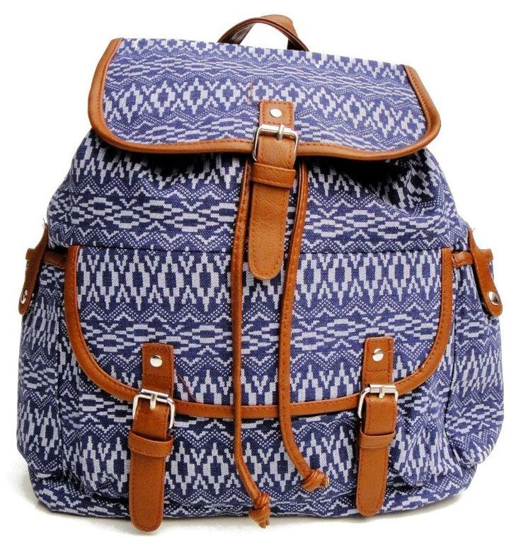 Beagles Vintage Canvas Jeans Aztec Patterned Top Handle Backpack Rucksack Bag Purse Retro Large A4 School Work College by BagintheDays on Etsy