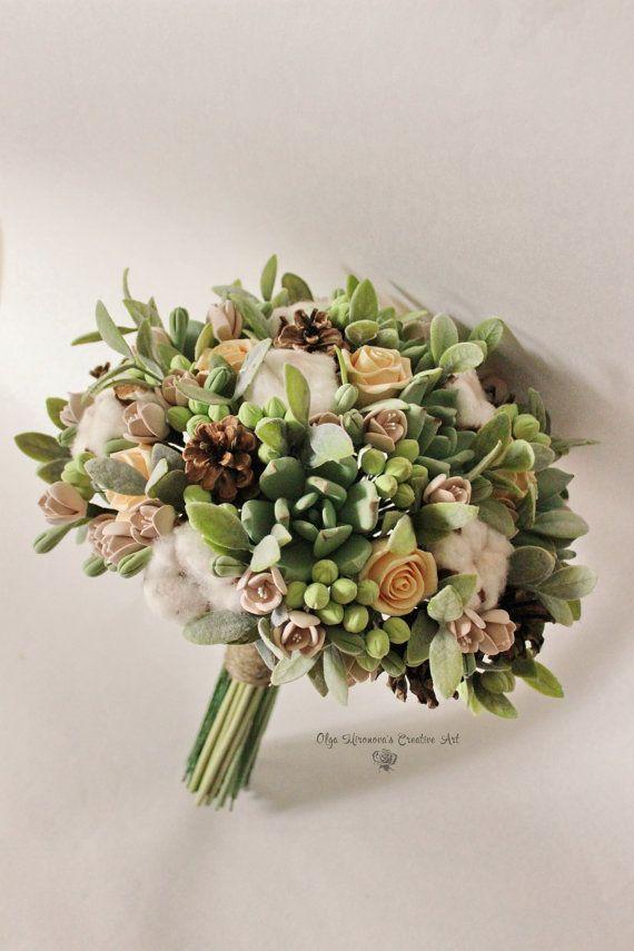 Bouquet de mariage d'hiver souvenir bouquet de mariée roses pêche bouquet de mariée de succulentes vert argile fleurs cônes de sapin bouquet champêtre que coton gousses