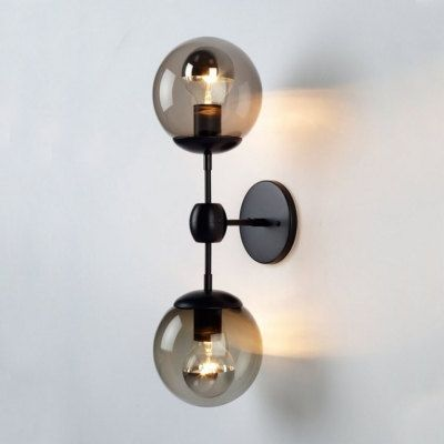 Vintage 2 Light Bubble Globe Wall Sconce Industrial