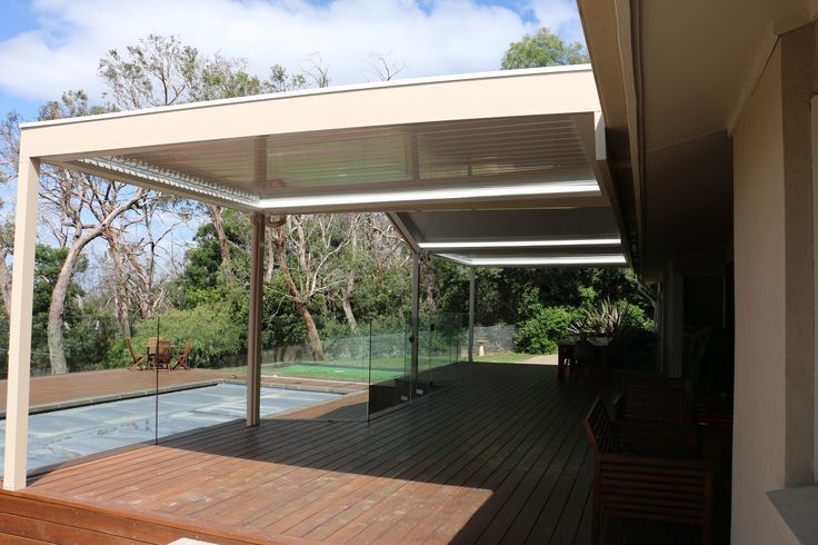 Side view of Louver roofed Verandah over deck