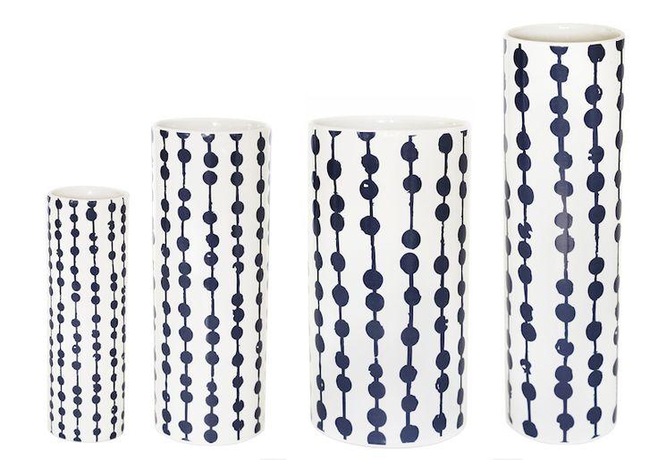 Helbak SNOR vase i cream og mørkeblå - Tinga Tango Designbutik