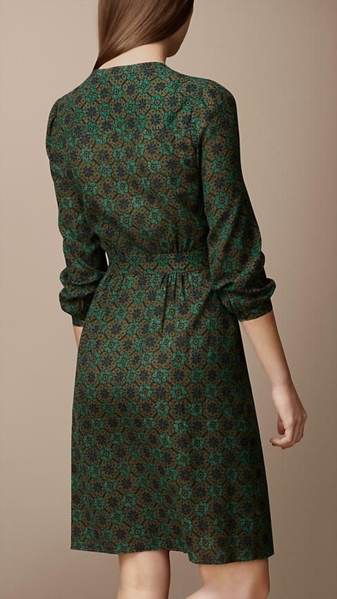 Pleat Detail Floral Print Dress | Burberry