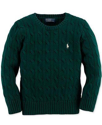 Ralph Lauren Kids Sweater, Little Boys Crew Neck Cable Knit Sweater ,  Harrison Christmas