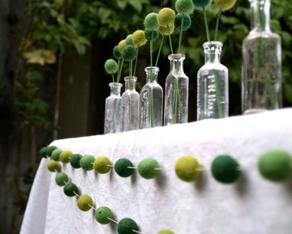 Felted green ball bunting and decorationsDecor, Outdoor Wedding, Felt Ball, Ideas, Country Wedding, St Patricks Day, Wedding Reception, Green Wedding, Baby Shower