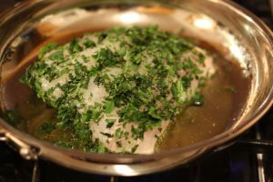 Made this twice so far with King Fish Steaks- delicious! I squeezed a lime on the fish before cooking, and I used red wine and vegetable stock for the liquid and a combination of dried sage, thyme, chives, rosemary, tarragon, cilantro, herbes de provence and old bay seasoning for the herb mixture.