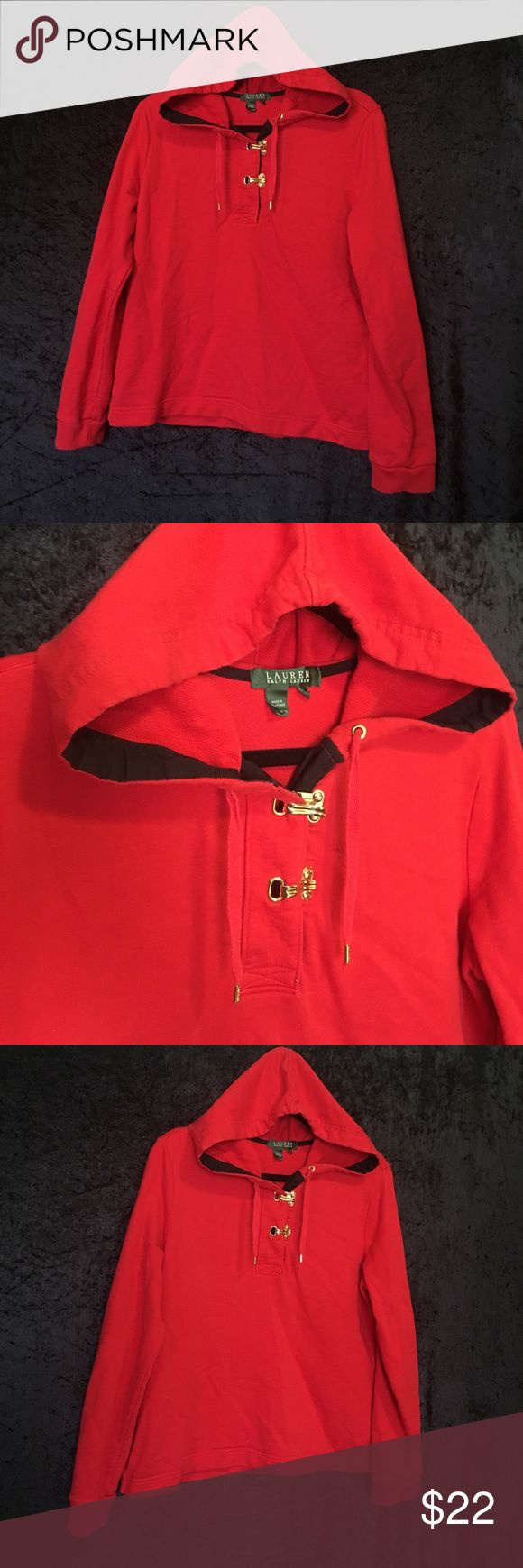 Ralph Lauren Hoodie This Ralph Lauren hoodie has gold embellished hooks, in tact draw strings, and a hood. No blemishes or flaws, great condition! Size large. Lauren Ralph Lauren Tops Sweatshirts & Hoodies