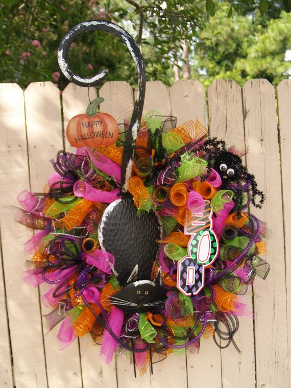 black cat halloween deco mesh wreath - Halloween Deco