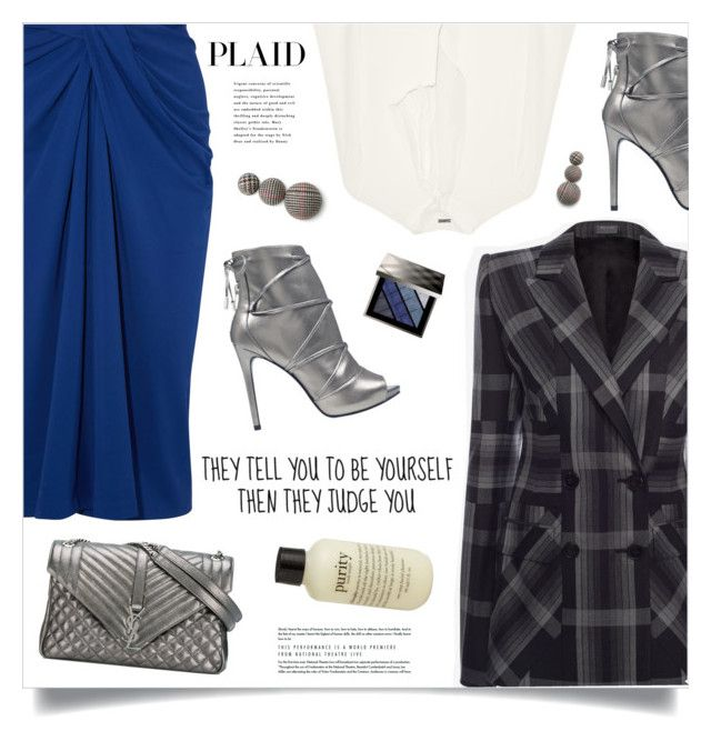 """""""Check It: Plaid"""" by marina-volaric ❤ liked on Polyvore featuring ADAM, Yves Saint Laurent, Rosetta Getty, GUESS, philosophy, Burberry and plaid"""