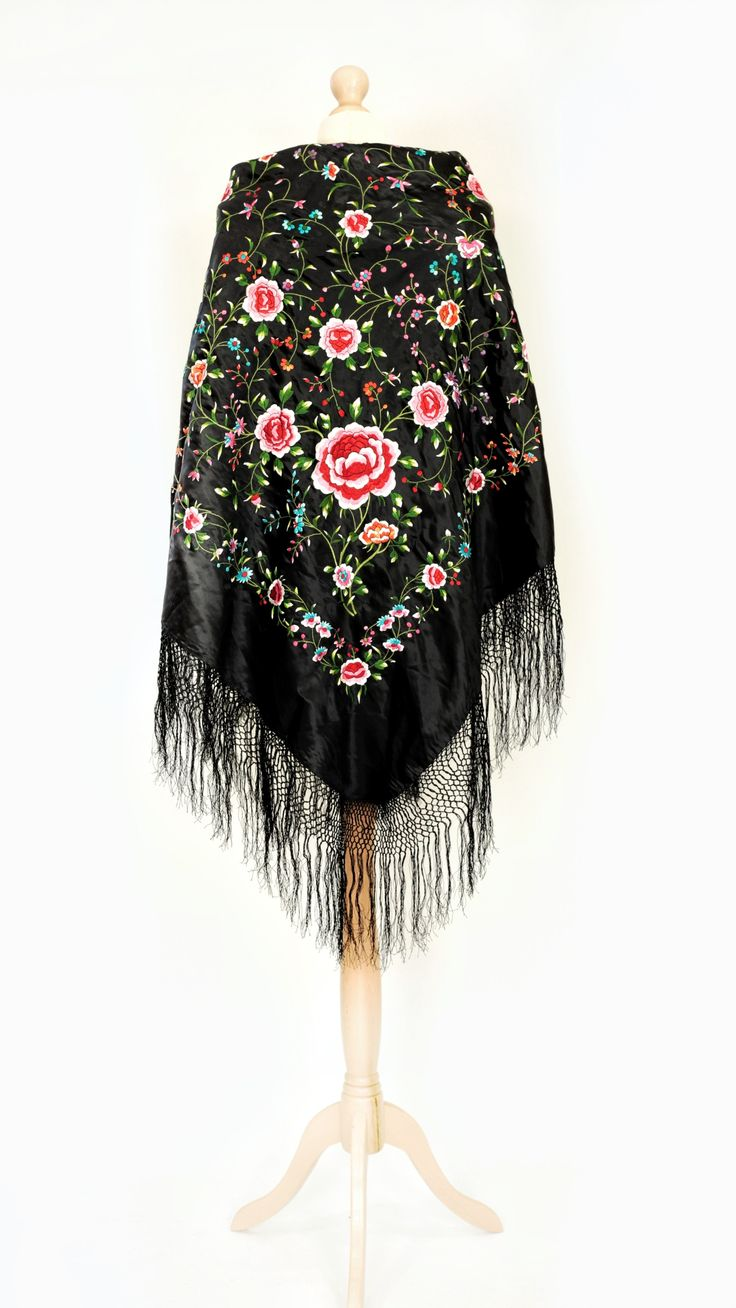 X-large Vintage/antique black embroidered chinese piano shawl/stole/cape with colourful floral embroidery