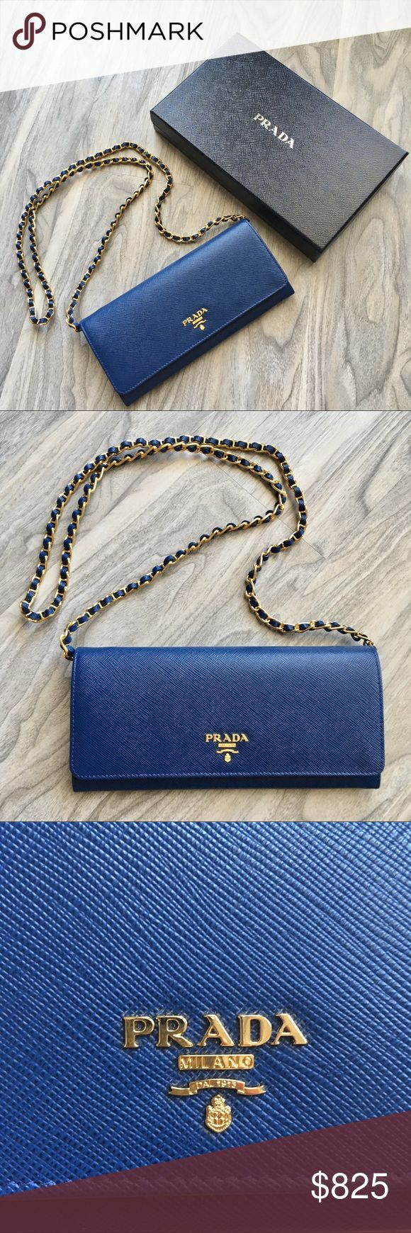 Prada Blue WOC NWT PRICE IS FIRM. Not taking any offers due to fee. ❌trade. All items over $500 will be authenticated by the Poshmark team. Prada Saffiano Metal Oro Chain Wallet in blue. It is a beautiful bag. You can even remove the chain and turn it into a wallet. The box is new and it has been barely opened. Currently $875 in stores + tax Prada Bags Crossbody Bags