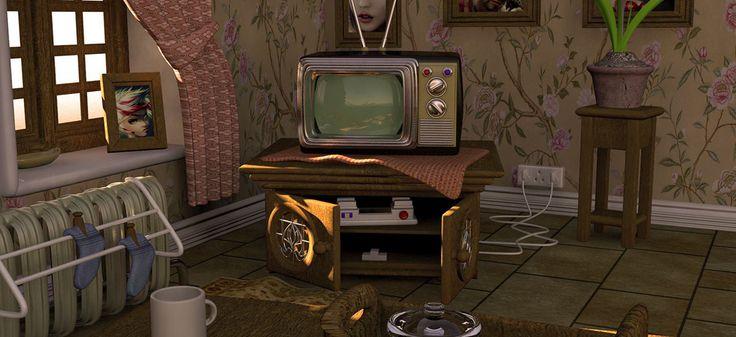 toon living room on Behance 3d model livingroom texturing