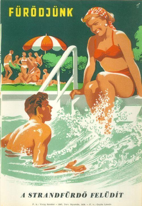 Ismeretlen - Fürödjünk - A strandfürdő felüdít! (Villamosplakát) - Múzeum Antikvárium